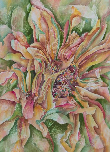 Purchase a fine art print of Gayle Faulkner's contemporary interpretation of sunflowers.