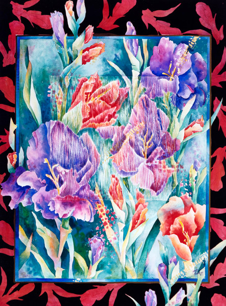 Gayle Faulkner's floral painting is available for purchase.