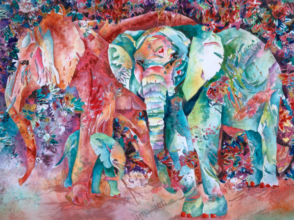 Purchase Gayle Faulkner's mixed media painting Elephant Family With Shy Baby.