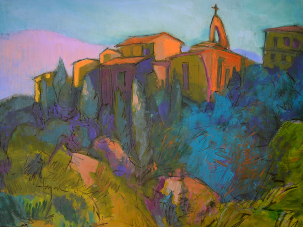 Village on the Hill, Tuscan Landscape with Steeple, Oil Painting