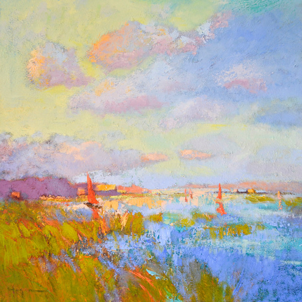 Gentle Evening, Original Oil Painting with Clouds & Sailboats