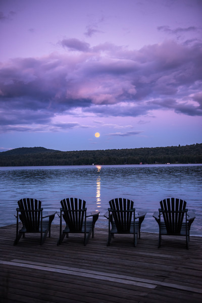 Adirondack Chairs Full Moon over 1st Lake