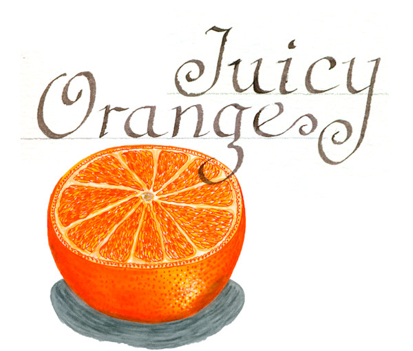 Orange slice with calligraphy juicy orange