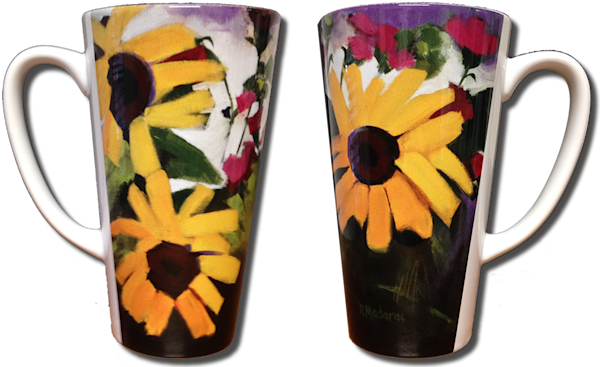 Three Sunflowers Latte Mug 17 oz.