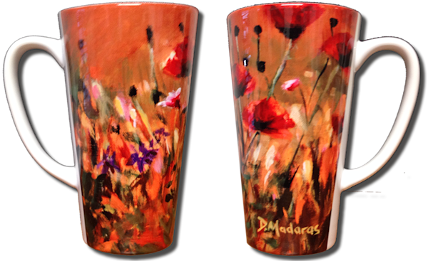 Poppies Latte Mug 17 oz.