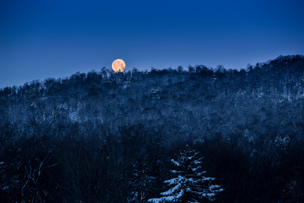 Full Moon over the Adirondack Mountains