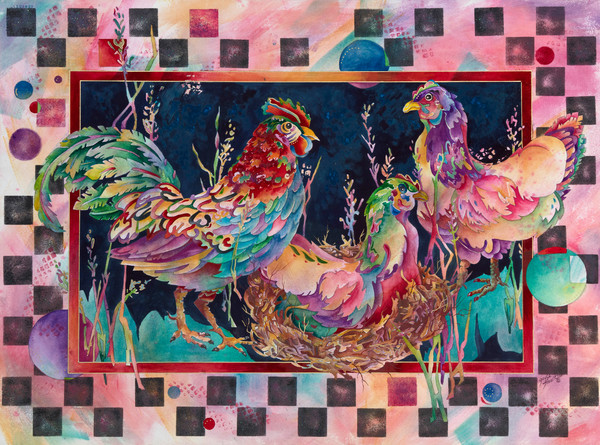 Gayle Faulkner's Hen House is a whimsical representation of the world of barnyard fowl.