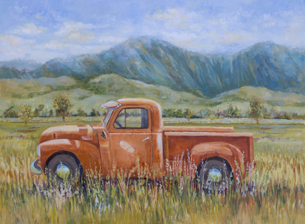 vintage truck paintings, rusted old pickups, ford, chevy, trucks