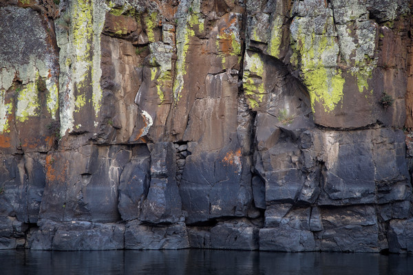 Columnar basalt along the John Day River in colors of gray, brown, and lime green