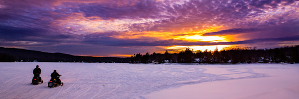 4th Lake Snowmobile Sunset Panoramic