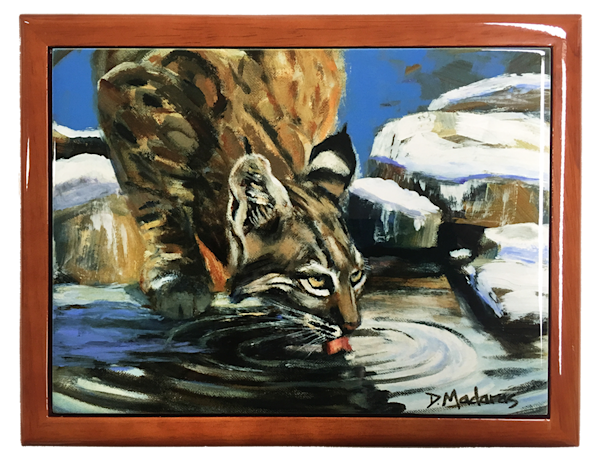 Wooden Keepsake Box | Southwest Gifts | Bobcat in Winter