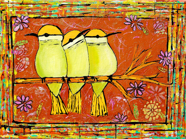 Claudia True's whimsical and colorful paintings of cute chubby birds. Available as fine art prints on canvas, paper and metal.
