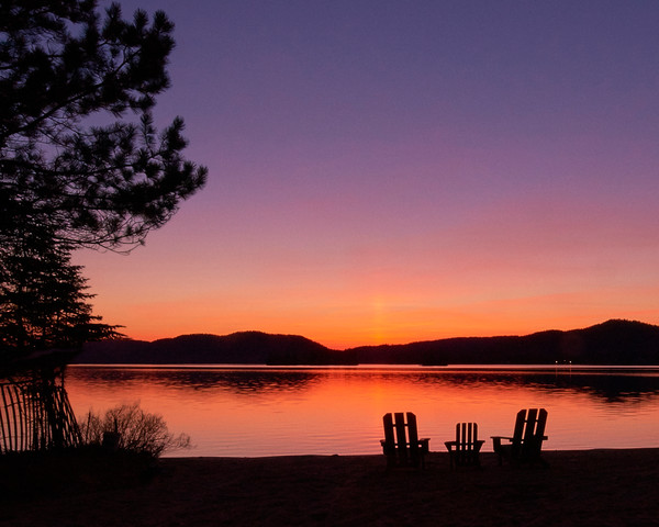 4th lake sunset with adk chairs in the Adirondacks