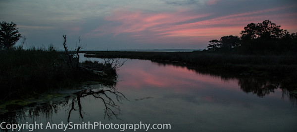 fine art photograph of dusk over the marsh at Assateague