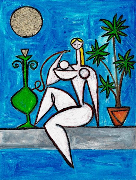 Poolside with Green Hookah Painting by Wet Paint NYC Artist Paul Zepeda