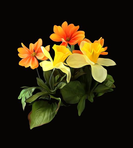Blossoms On Black Floral Art