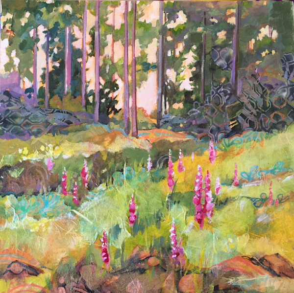 Vibrant pink Foxglove blooms are front and center in this beautiful wooded scene by artist Marty Husted, an original acrylic and mixed media painting.