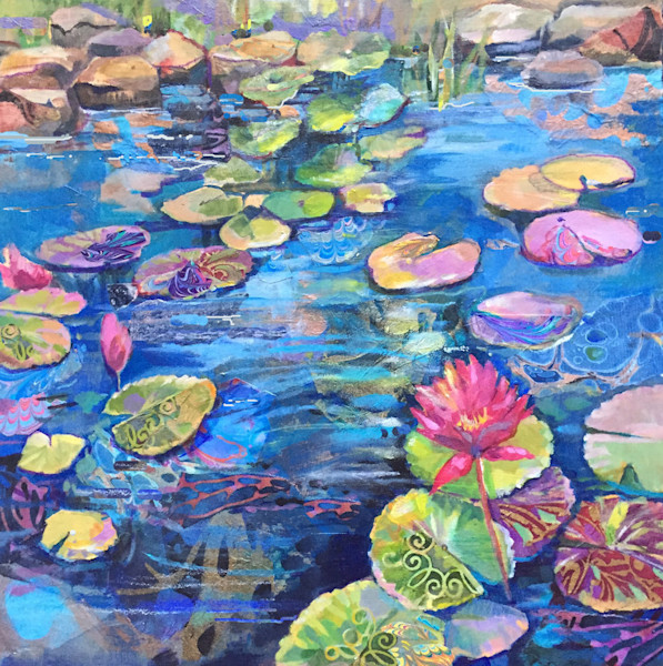 Brilliant blues, pinks and greens fill the canvas in this original acrylic and mixed media painting by artist Marty Husted.