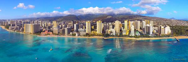 Photograph, Panoramic of Waikiki, Oahu, Hawaii