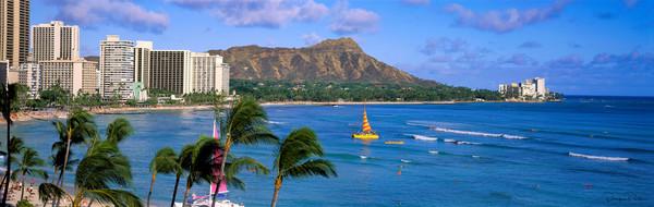 Photograph, panoramic, Waikiki, Oahu, Hawaii, USA