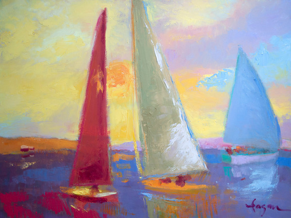 Mercy ~ Abstract Sailboats at Sunset Fine Art Print on Canvas or Watercolor Paper