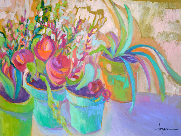 Potted Joy | Joyous Flower Painting by Dorothy Fagan