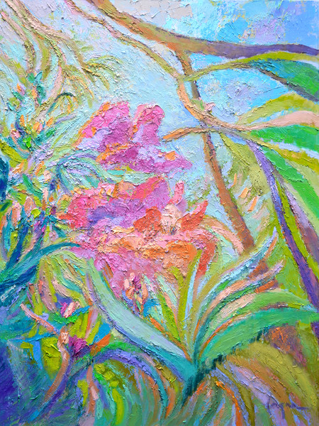 Double Bloom, Pink Orchids Fine Art Prints on Canvas & Watercolor Paper by Dorothy Fagan Collection