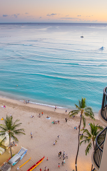Looking down at Waikiki Beach photo in Canvas, Metal, and Archival Print