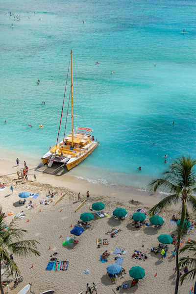 Waikiki Beach Catamaran photo for sale | Barb Gonzalez Photography