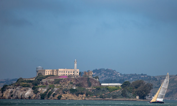 Alcatraz and Sailboat Fine Art Photo- in Canvas, Metal, or Archival print