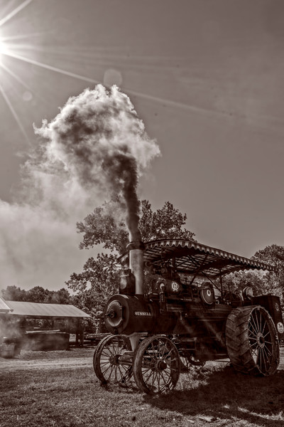 Art Photograph Smoking Russell Steam Tractor v6 fleblanc