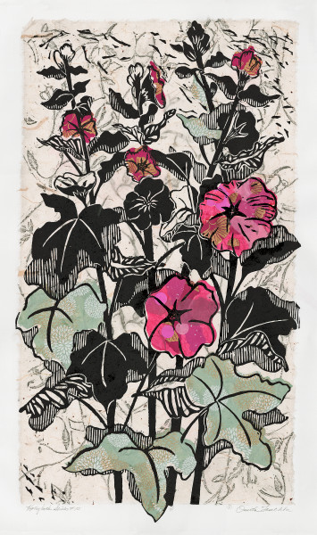 Hollyhocks 10, woodcut art prints for sale by Ouida Touchon