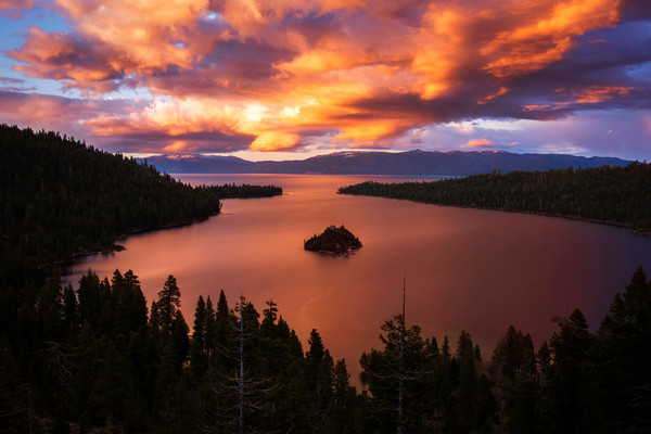 Emerald Bay Fire - Lake Tahoe Sunset print by Brad Scott