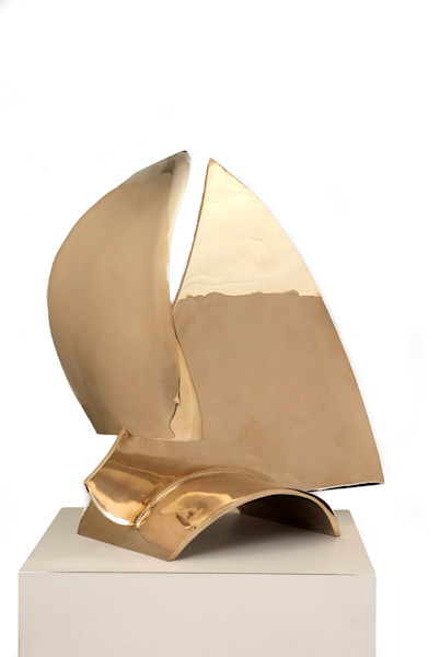 Abstract fine art highly polished bronze sailboat sculpture