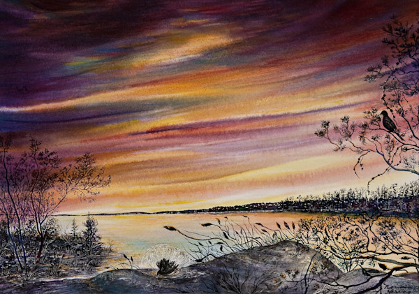 Along the Sunset Channel watercolor landscape Print For Sale