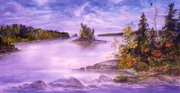 Autumn Finale Mile's Bay watercolor landscape Print For Sale.