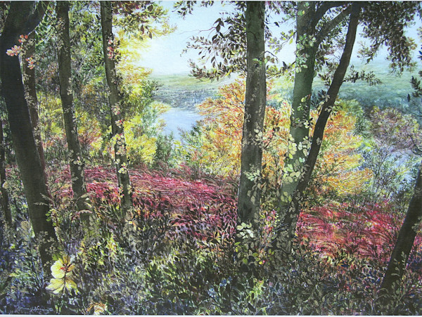 Autumn Symphony watercolor landscape Print For Sale