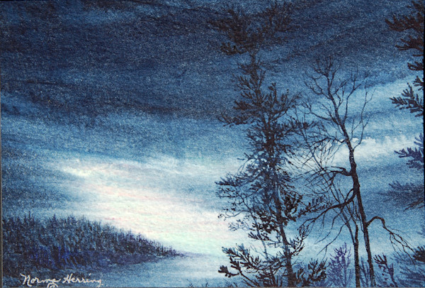Distant Glow Of The Aurora watercolor landscape Print For Sale