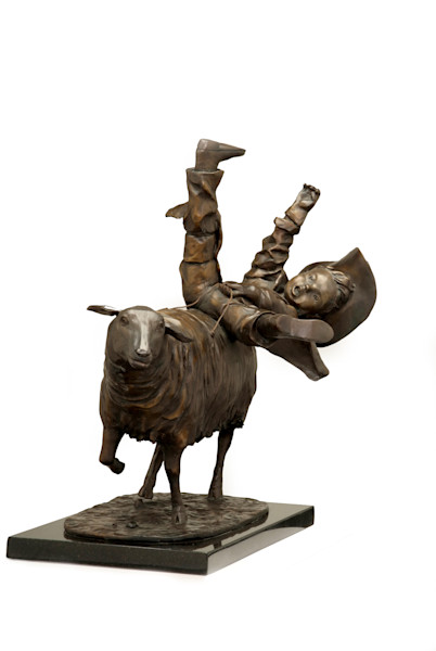 Mutton Buster sculpture humorous depiction of youth rodeo