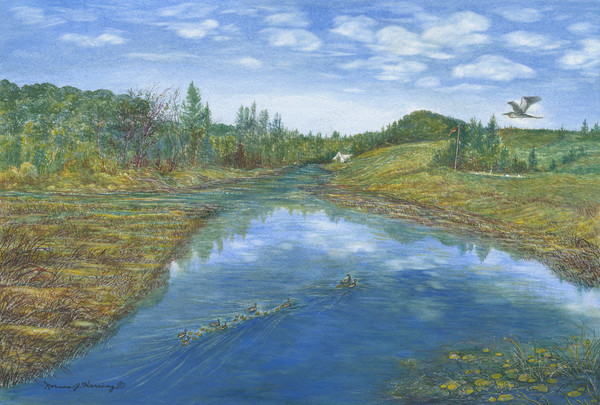 The Little Grassy River watercolor landscape Print For Sale.