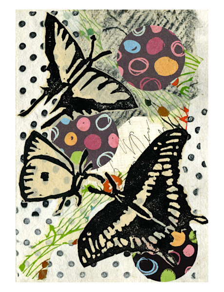 winged chatter, butterflies and polkadots, fine art collage for sale by Ouida Touchon