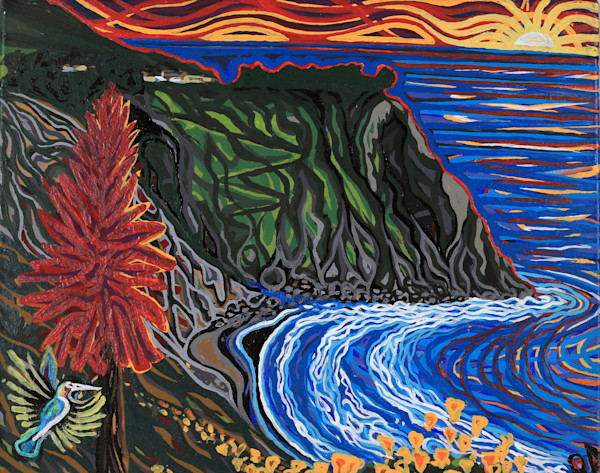 World Famous Ragged Point glows with vibrant acrylic colors painted by Central coast artist Ryan Adams