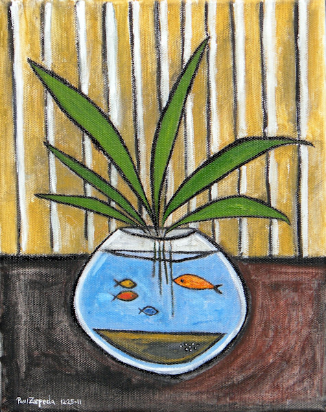 Fish Bowl Painting by Wet Paint NYC Artist Paul Zepeda