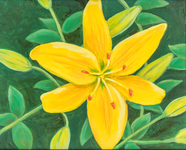 Buy a print of a bright yellow lily by Debbie Stone.