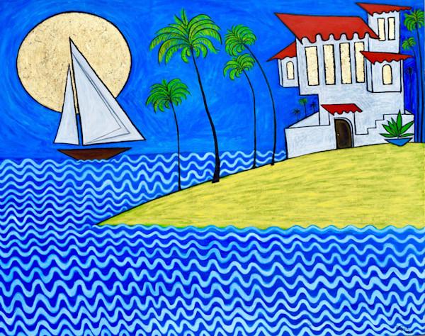 Seaside Villa Original Oil Painting by Wet Paint NYC Artist Paul Zepeda