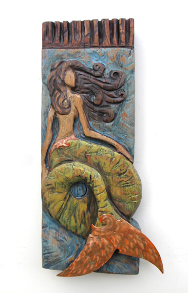 Buy Chainsaw Carved Mermaid Sculpture With Metal and Copper Fins