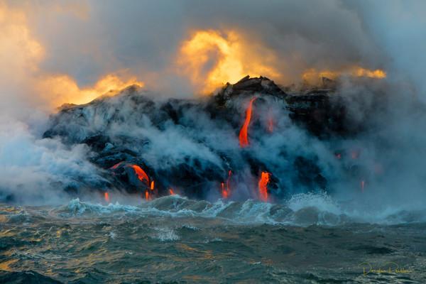 Sunrise, Kilauea Volcano, HVNP. Island of Hawaii, Hawaii