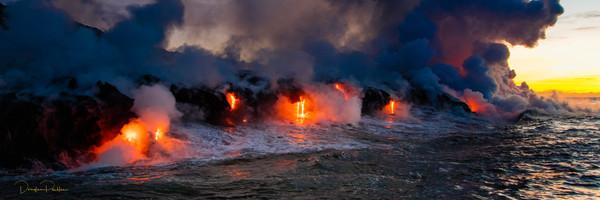 Photograph, Lava Boat Tour, Kilauea Volcanon, HVNP. Island of Hawaii, Hawaii, panoramic