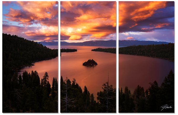 Emerald Bay Fire Canvas Triptych Wall Art