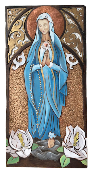 Own Painted Virgin Mary Relief Carving with copper and metal